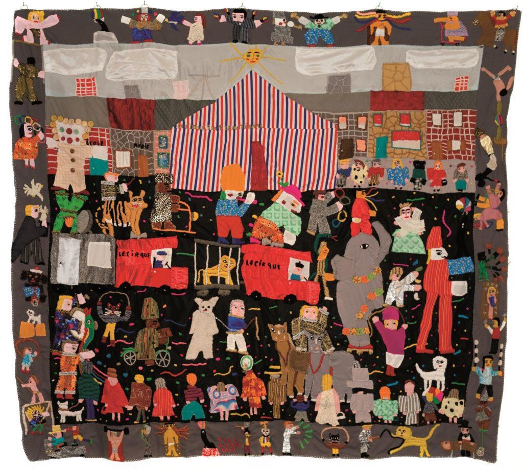 Jacques Trovic, La Parade du Cirque, 2013, tapisserie-patchwork, 240 x 210 cm (collection privée, mise en dépôt à la Fondation Paul Duhem)