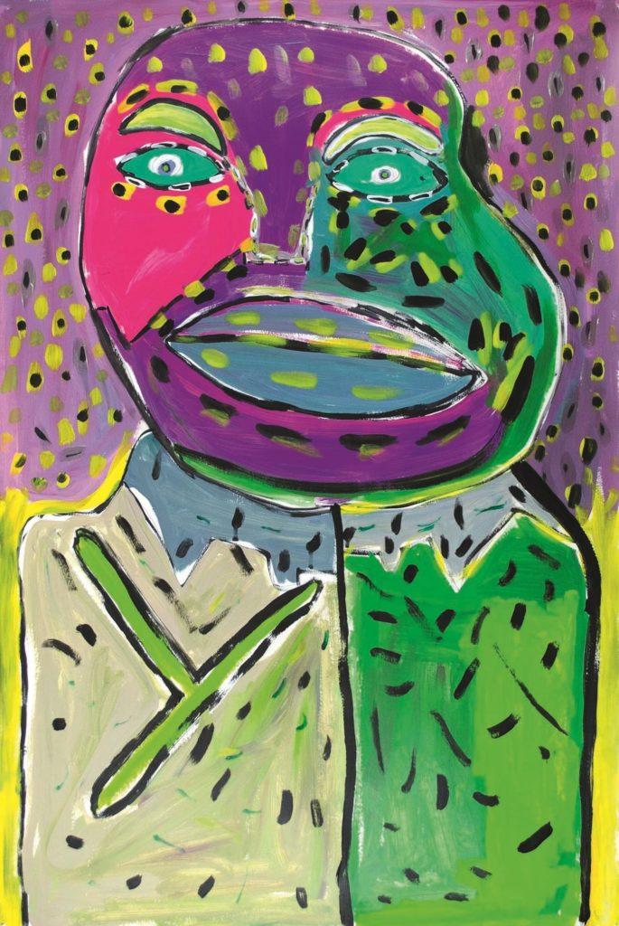 1.Vincent Feneyrou, sans titre, 2014, peinture acrylique sur papier, 110 x 73 cm