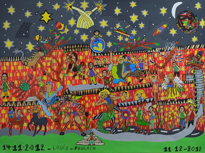 Louis Poulain, sans titre, 2012, peinture acrylique sur carton, 55 x 73 cm