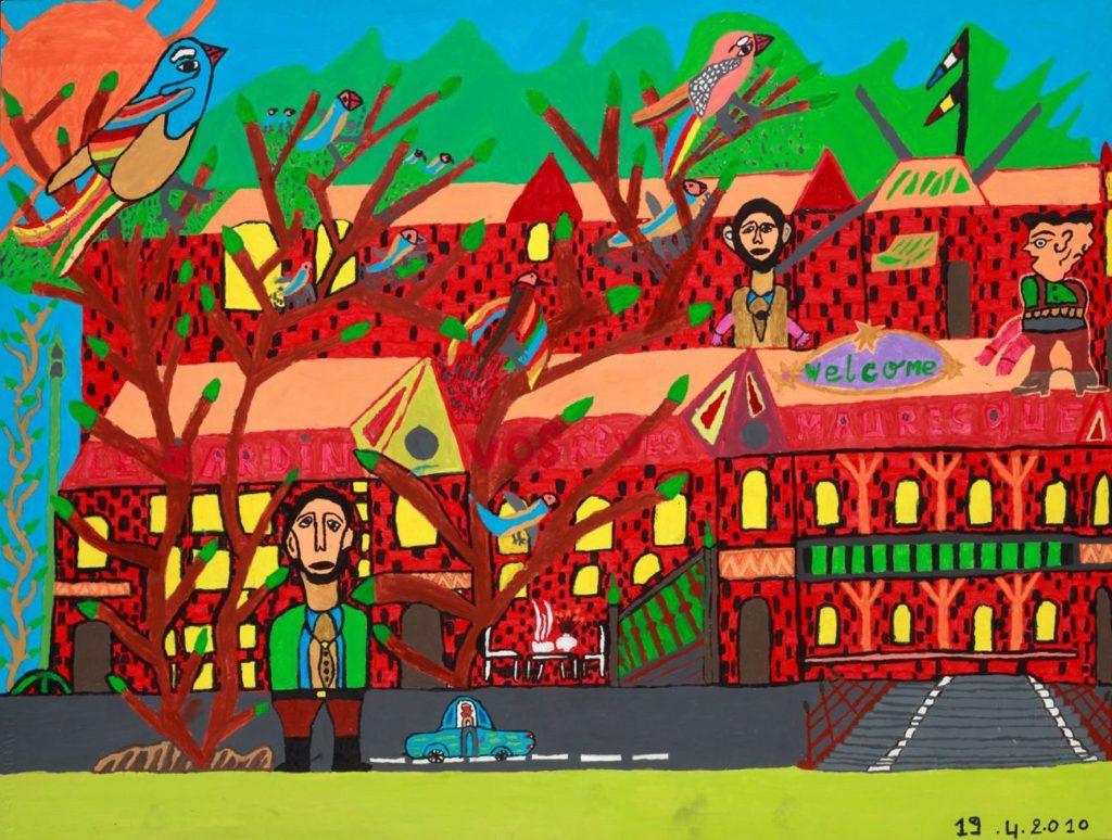 Louis Poulain, sans titre (Le jardin - vos rêves mauresques), 2010, peinture acrylique sur carton, 55 x 73 cm