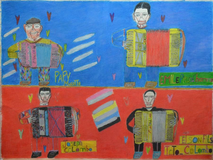 Oscar Haus, Papy Musette, Emile Prud'homme, Joseph Colombo et Tito Colombo, 2005, crayons de couleur sur papier, 55 x 73 cm