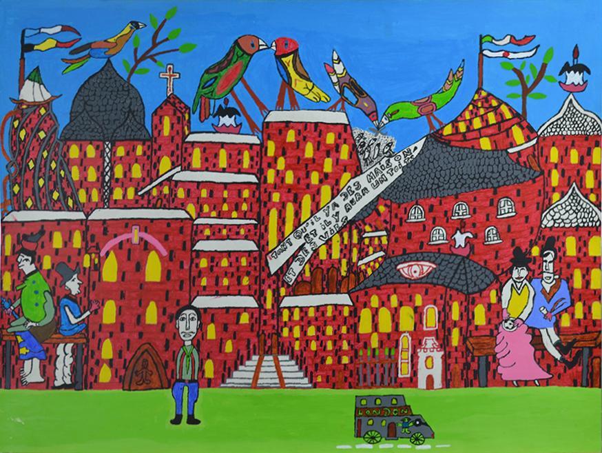 Louis Poulain, sans titre (Tant qu'il y a des maisons, il y aura un toit et des vies), 2009, peinture acrylique sur carton, 55 x 73 cm