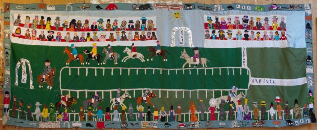 Jacques Trovic, Le Tiercé, 2001, tapisserie-patchwork, 190 x 480 cm