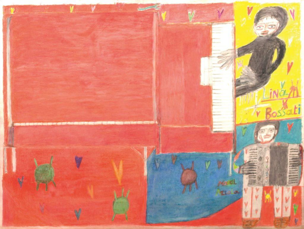 Oscar Haus, Marcel Azzola et Lina Bossatti, 2011, crayons de couleur sur papier, 55 x 73 cm