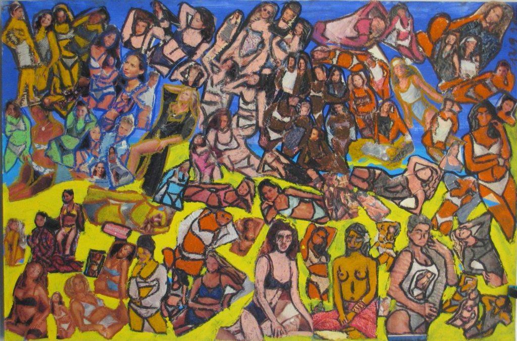 Hugues Joly, sans titre, 1994, collage sur papier rehaussé au pastel gras, 73 x 110 cm