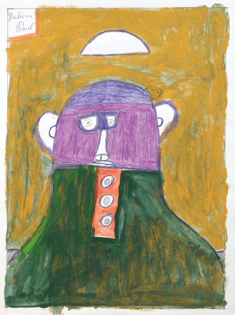 Paul Duhem, sans titre, 1999, crayons de couleur et peinture à l'huile sur papier, 40 x 30 cm