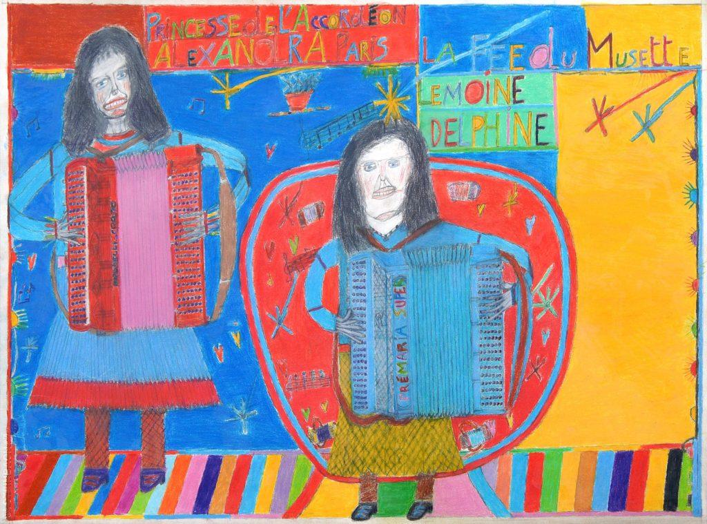 Oscar Haus, Alexandra et Delphine Lemoine, 2007, crayons de couleur sur papier, 55 x 73 cm