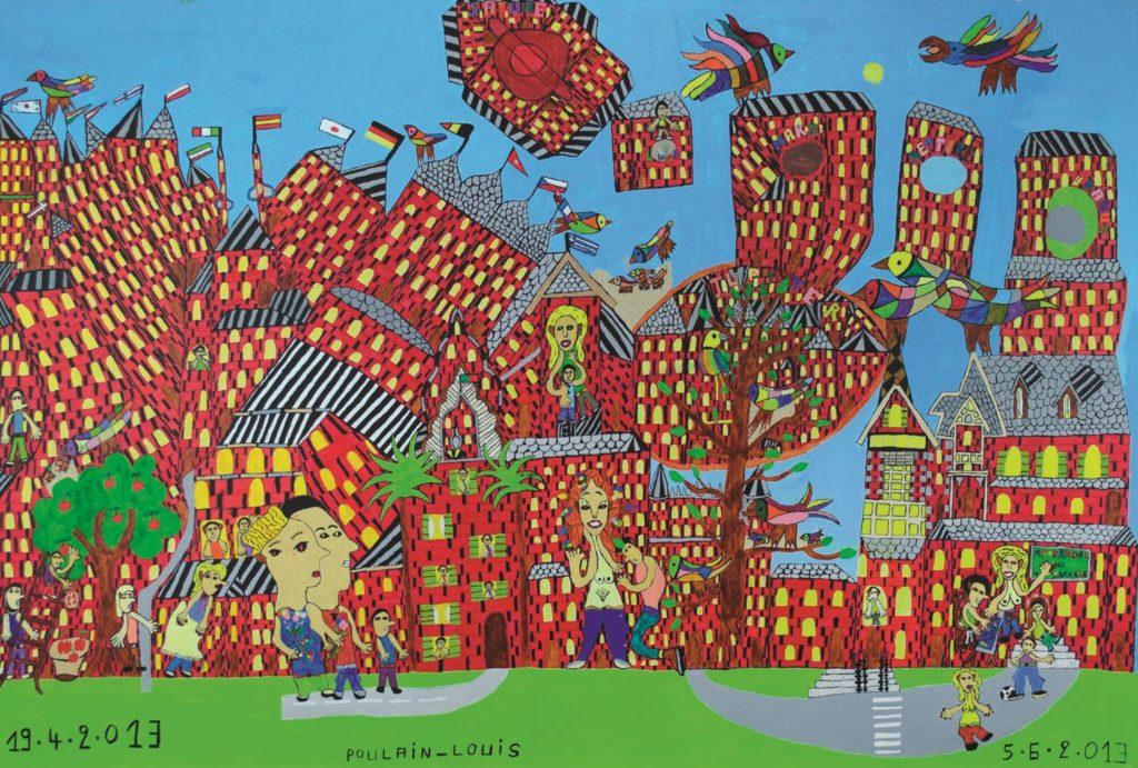 Louis Poulain, sans titre, 2013, peinture acrylique sur carton, 80 x 120 cm