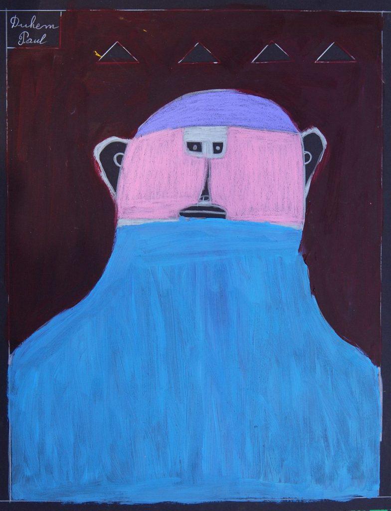 Paul Duhem, sans titre, 1998, crayon blanc, pastel gras et peinture à l'huile sur papier, 65 x 50 cm