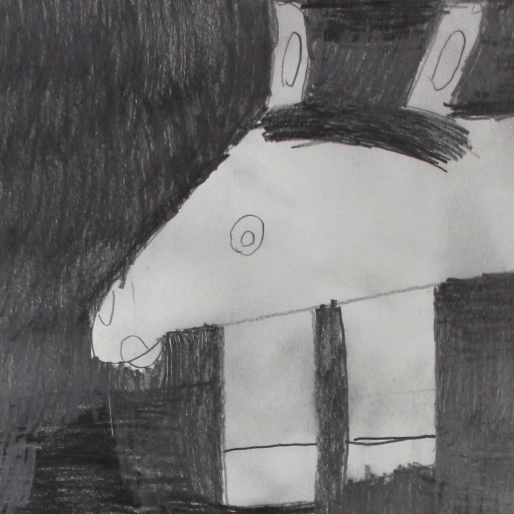 Ludivine Flips, 2017, crayon gris sur papier, 55 x 73cm2