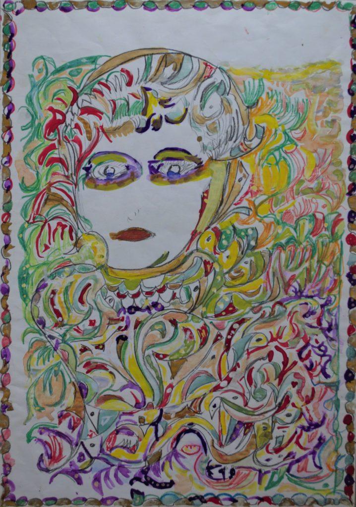 Martha Grünenwaldt, sans titre, nd, dessin au crayon gris, crayons de couleur et gouache sur papier, 42 x 29.5 cm