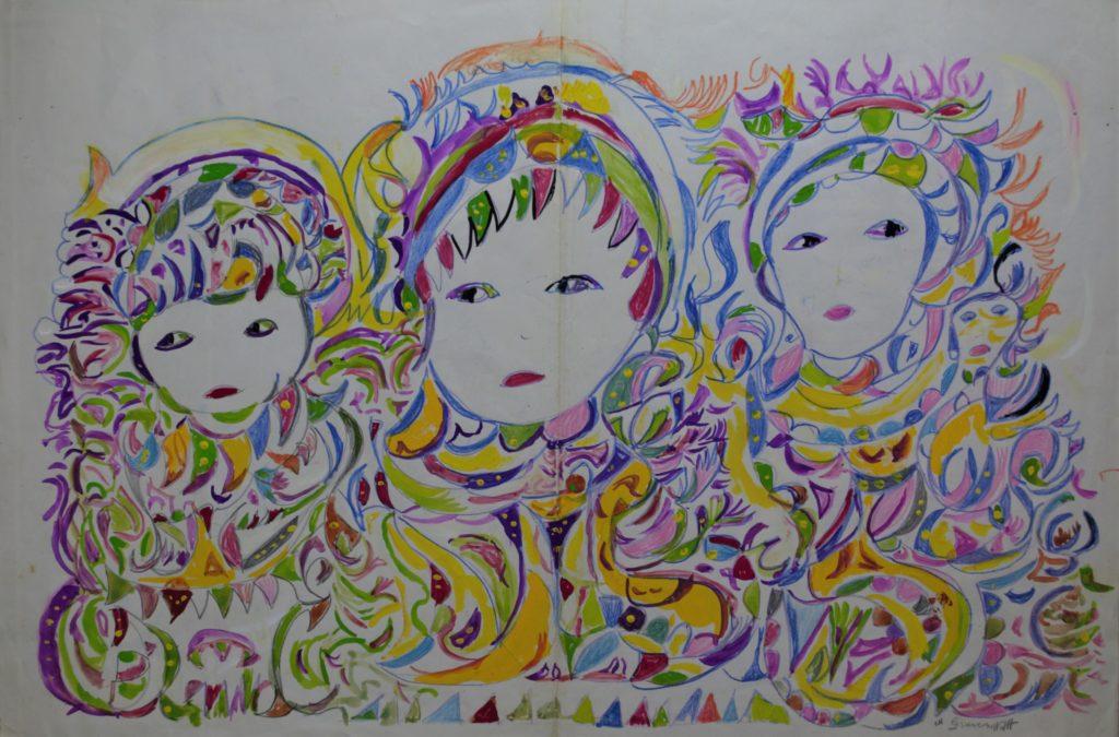 Martha Grünenwaldt, sans titre, nd, dessin au crayon gris, crayons de couleur et gouache sur papier, 40 x 60 cm