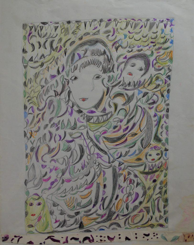 Martha Grünenwaldt, sans titre, nd, dessin au crayon gris et crayons de couleur sur papier, 38 x 30 cm