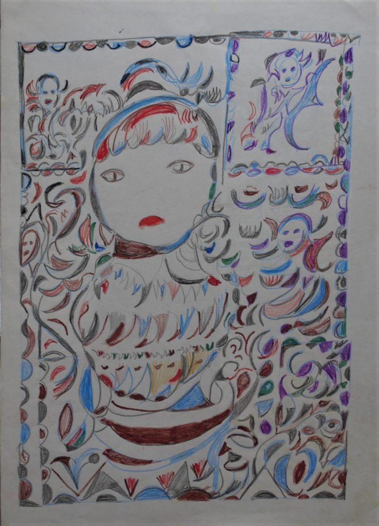 Martha Grünenwaldt, sans titre, nd, dessin au crayon gris et crayons de couleur sur papier, 42 x 30 cm