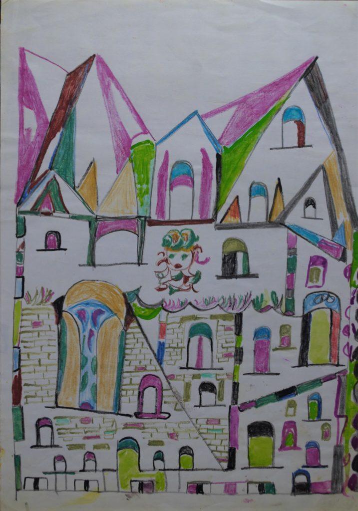 Martha Grünenwaldt, sans titre, nd, dessin aux crayons de couleur et gouache sur papier, 42 x 29,5 cm