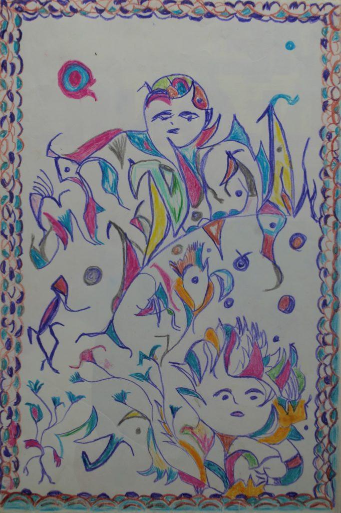 Martha Grünenwaldt, sans titre, nd, dessin aux crayons de couleur sur papier, 45 x 30 cm