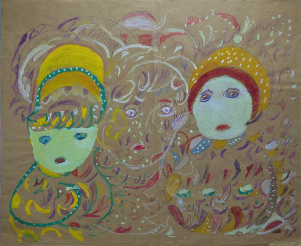 Martha Grünenwaldt, sans titre, nd, dessin au crayon gris, crayons de couleur et gouache sur papier, 49,5 x 61 cm