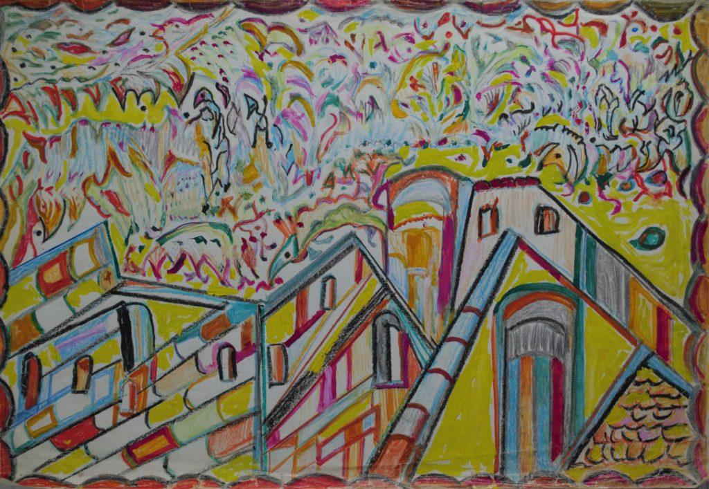Martha Grünenwaldt, sans titre, nd, dessin aux crayons de couleur et gouache sur papier, 35 x 51 cm