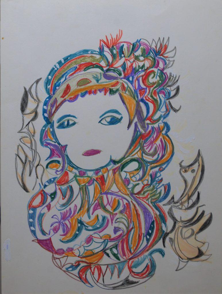 Martha Grünenwaldt, sans titre, nd, dessin aux crayons de couleur sur papier, 36 x 17 cm