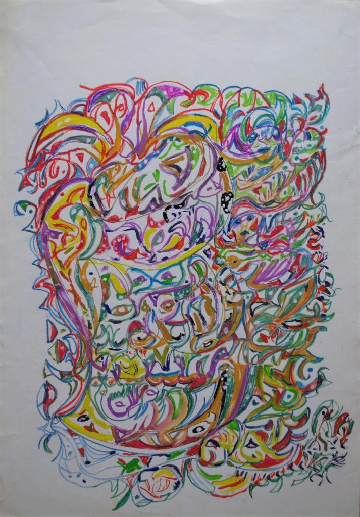 Martha Grünenwaldt, sans titre, nd, dessin aux crayons de couleur et gouache sur papier, 46 x 32 cm