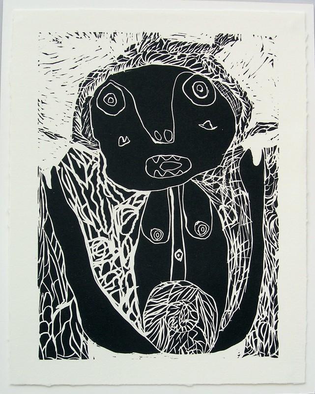 Jean-Marie Heyligen, sans titre, linogravure, 60 x 40 cm