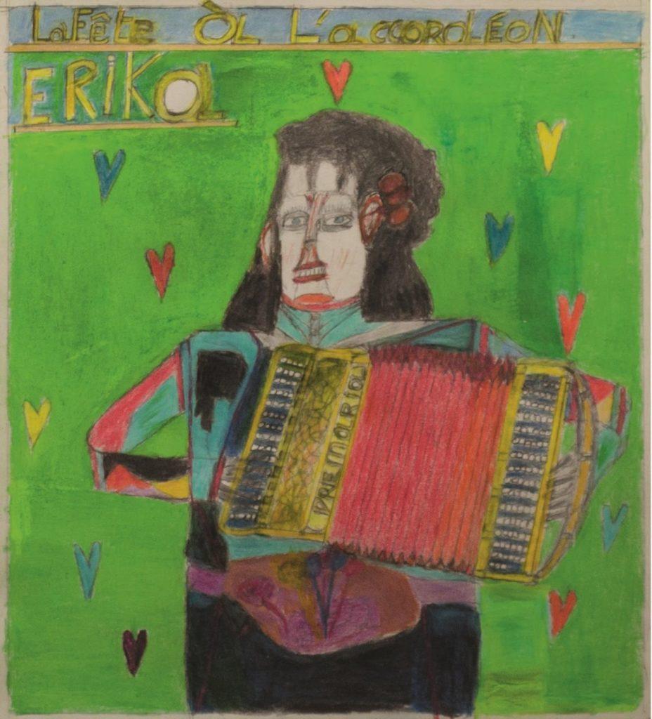 Oscar Haus, Erika, 2011, crayons de couleur sur papier, 36,5 x 33 cm_1