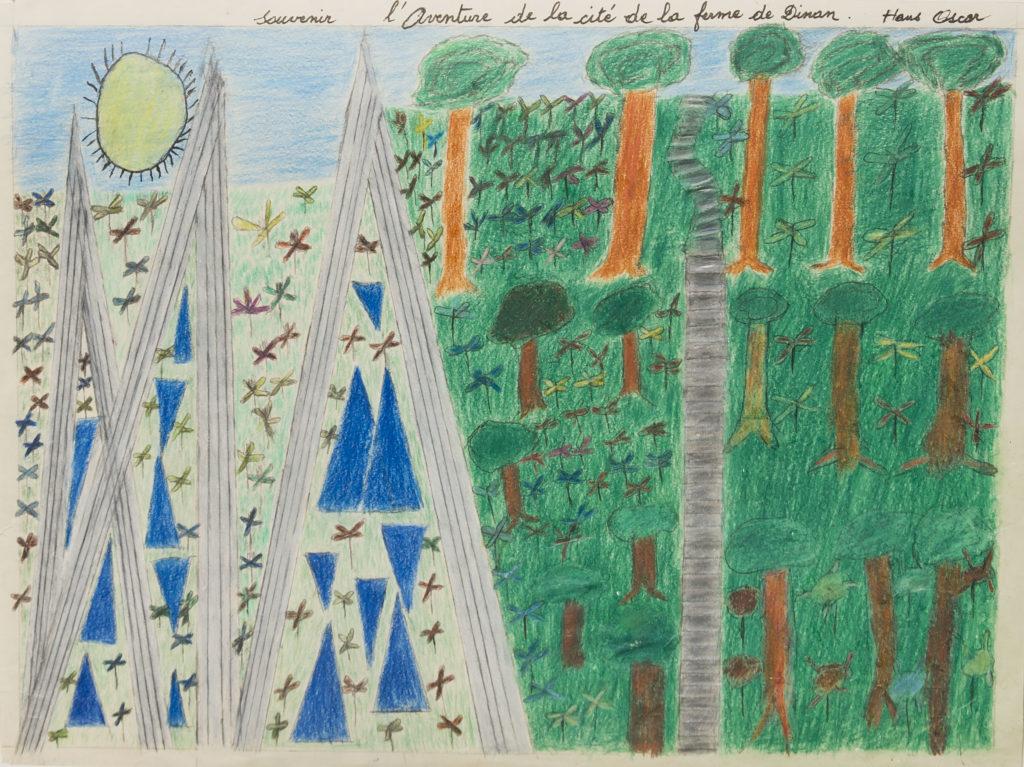 Oscar Haus, sans titre, nd (ca 2000), crayons de couleur sur papier, 30,7 x 40,2 cm