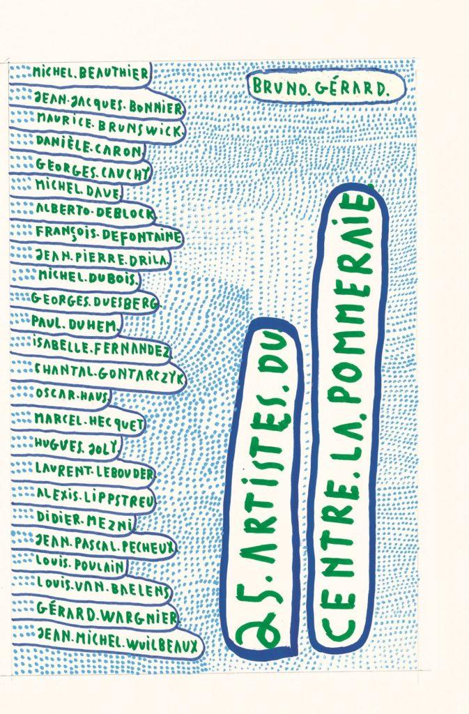 Michel Dave, 2000, 25 artistes de La Pommeraie (page de couverture du livre), marqueurs acryliques sur papier, 34 x 24 cm