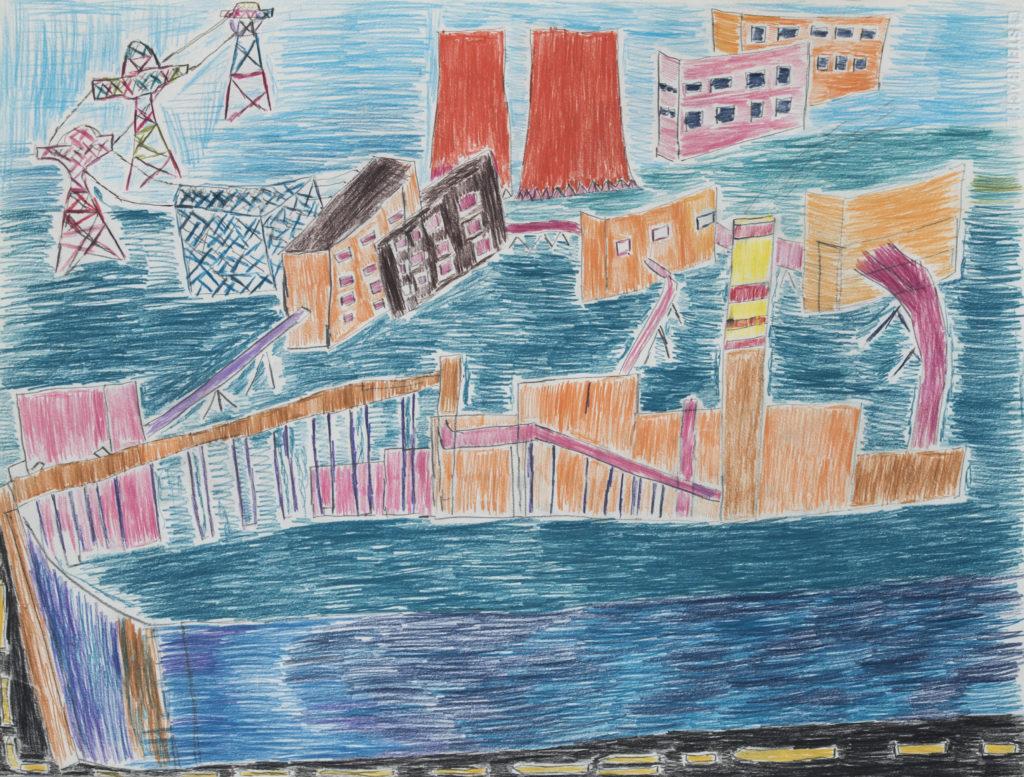 Jean-Pierre Drila, crayons de couleurs, 55cm x 73cm